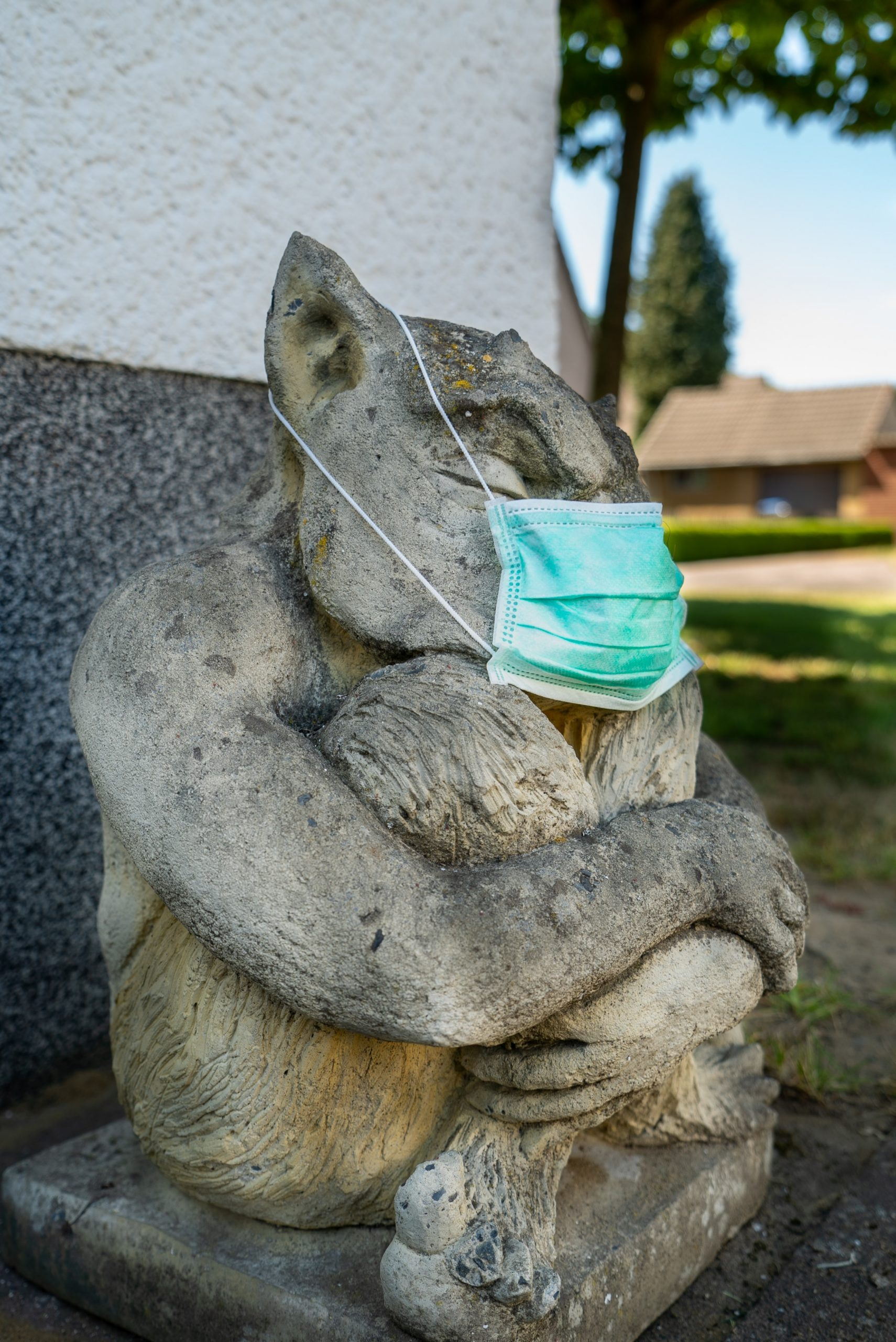 Seated animal statue wearing anti coronavirus mask